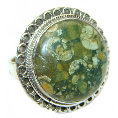 Excellent Rainforest Jasper .925 Sterling Silver Ring s. 9