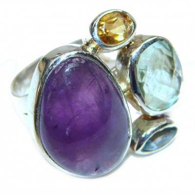 Amethyst .925 Sterling Silver handcrafted ring s. 7 adjustable