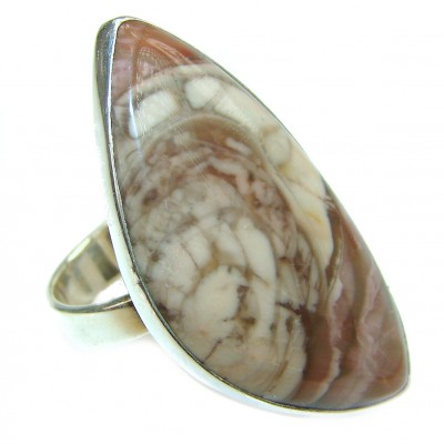 BOHO STYLE Genuine Imperial Jasper .925 Sterling Silver handcrafted LARGE ring s. 9 1/4