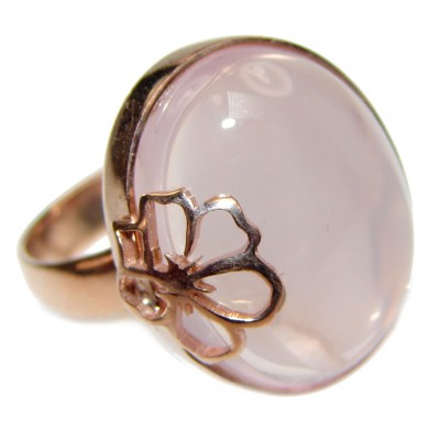 Oval cut 25ctw Rose Quartz Rose Gold over .925 Sterling Silver brilliantly handcrafted ring s. 7 3/4