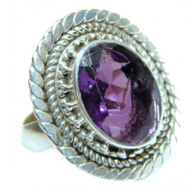 Authentic 14ctw Amethyst .925 Sterling Silver brilliantly handcrafted ring s. 6 3/4