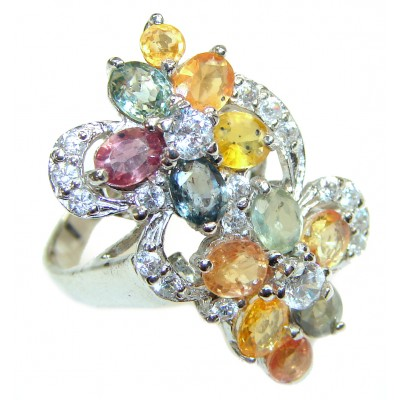 Valentina Genuine multicolor Sapphire .925 Sterling Silver handcrafted Statement Ring size 7 1/2