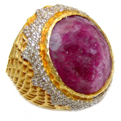 Genuine Ruby 18K yellow Gold over .925 Sterling Silver handmade LARGE Cocktail Ring s. 8