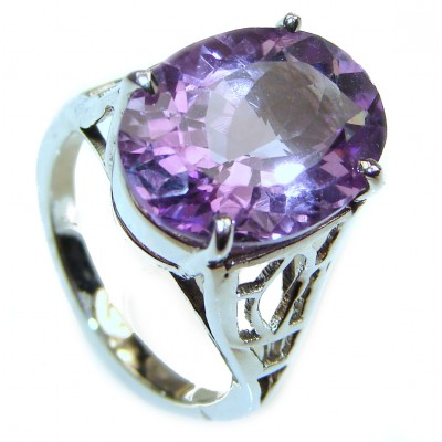 Authentic Oval cut 22ctw Amethyst .925 Sterling Silver brilliantly handcrafted ring s. 8