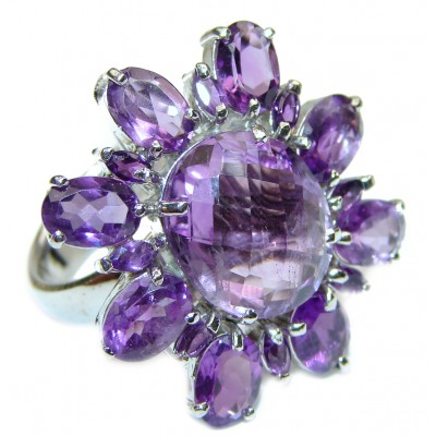 Large genuine Amethyst .925 Sterling Silver handcrafted Ring size 8 1/4
