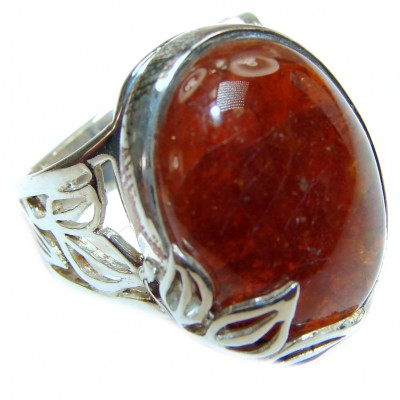 Posh Garnet .925 Sterling Silver handcrafted Ring size 8 adjustable