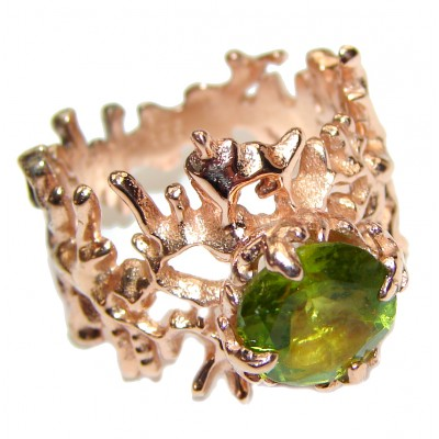 Dramatic Design genuine Peridot 14K Gold over .925 Sterling Silver handmade Cocktail Ring s. 7 1/4
