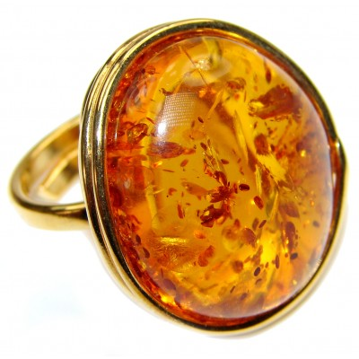 HUGE Genuine Baltic Amber 14K Gold over .925 Sterling Silver handmade Ring size 8 adjustable