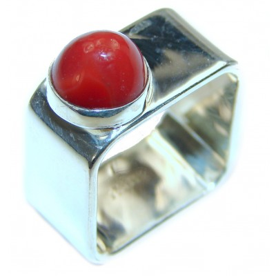 Natural Fossilized Coral .925 Sterling Silver handmade ring s. 7 3/4