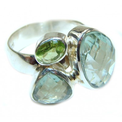 Authentic green Amethyst .925 Sterling Silver handmade Ring size 8 adjustable