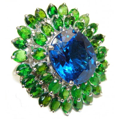 25ct Electric Blue Topaz Chrome Diopside .925 Sterling Silver LARGE handmade ring s. 7 3/4
