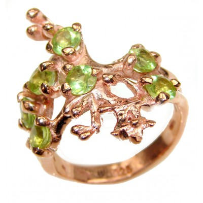 Flower Fields Peridot .925 Sterling Silver handmade Cocktail Ring s. 7 1/4