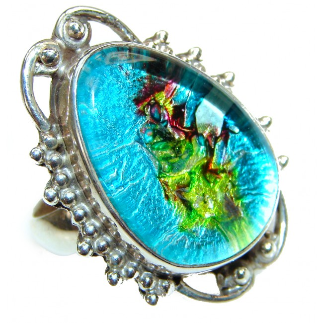 Dichroic Glass .925 Sterling Silver handcrafted Ring s. 5 3/4