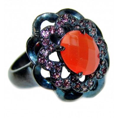 Bianca Genuine Carnelian black rhodium over .925 Sterling Silver handmade Ring Size 7 1/4