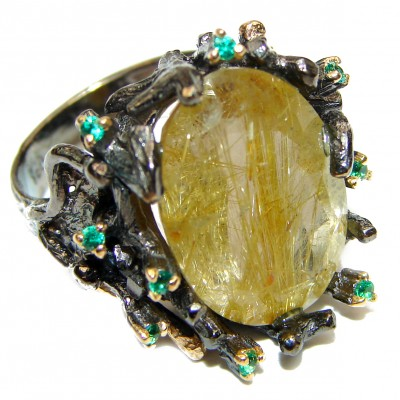 Golden Perfection Rutilated quartz .925 Sterling Silver Ring size 6