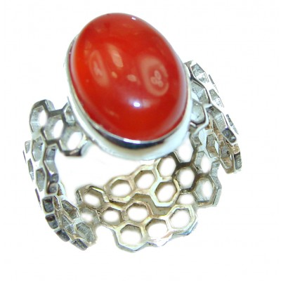 Fashion Beauty Carnelian Sterling Silver Ring s. 8