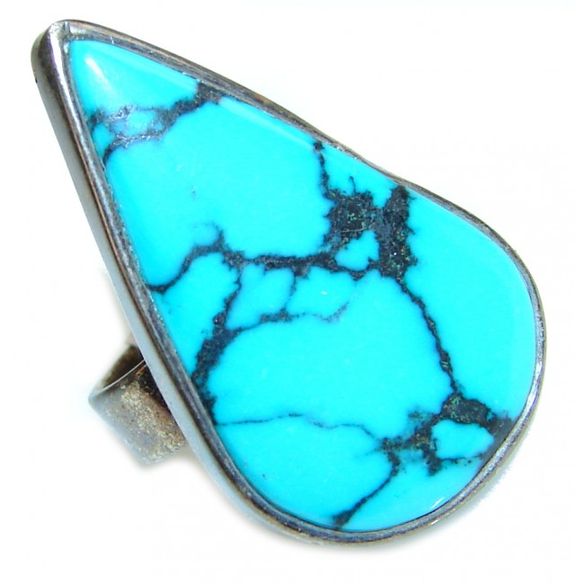 Great quality Blue Turquoise .925 Sterling Silver handcrafted Ring size 5 3/4