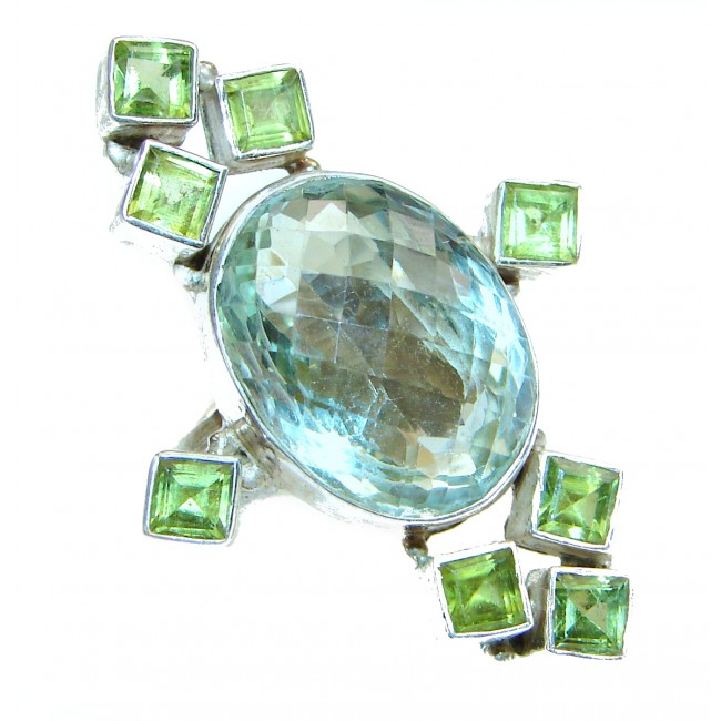 Authentic green Amethyst .925 Sterling Silver handmade Ring size 7