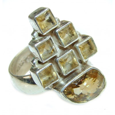 Cocktail Style Natural Citrine .925 Sterling Silver handcrafted Ring s. 9