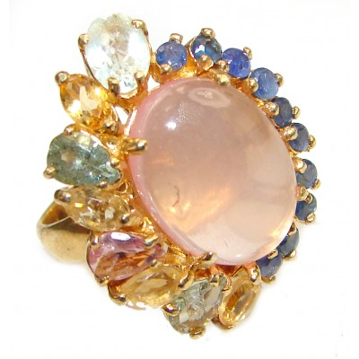 Pink Perfection Rose Quartz 18K Gold over .925 Sterling Silver Huge Ring size 9 1/4