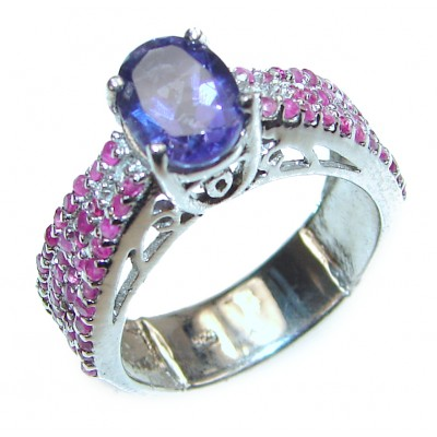 Authentic Oval cut 0.5ctw Amethyst .925 Sterling Silver brilliantly handcrafted ring s. 6 1/4