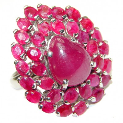 Gabriella Genuine Ruby .925 Sterling Silver handcrafted Statement Ring size 8