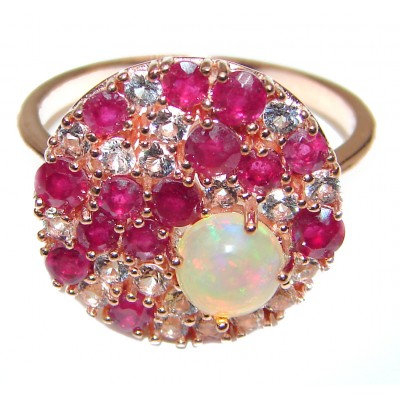 Gabriella Authentic Ethiopian Fire Opal 18K Gold over .925 Sterling Silver brilliantly handcrafted ring s. 9
