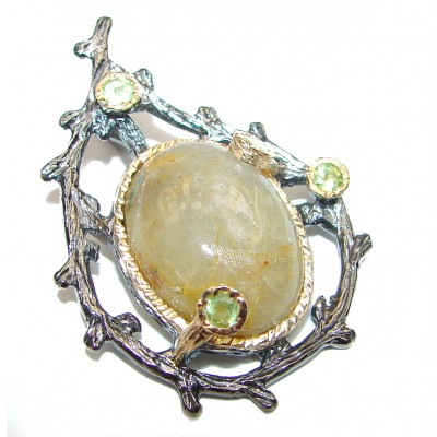 Himalayan Treasure Golden Rutilated Quartz .925 Sterling Silver Pendant