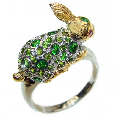 Green Meadow Rabbit Natural Emerald .925 Sterling Silver handcrafted ring size 8