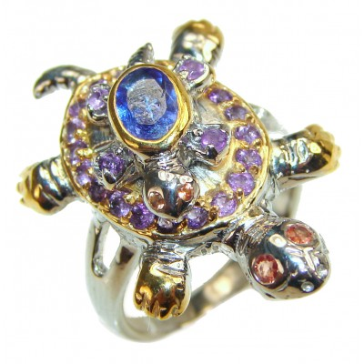 Good health and Long life Turtles 18ctw Genuine Black Opal 24K Gold over .925 Sterling Silver handmade Ring size 7