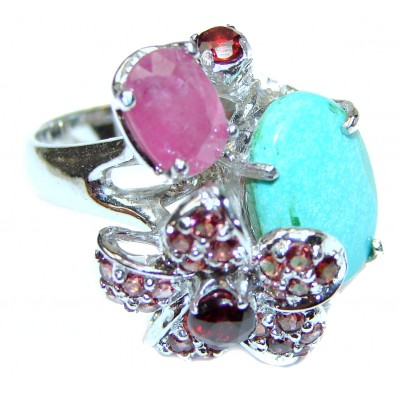 Great quality Blue Turquoise .925 Sterling Silver handcrafted Ring size 8 1/4