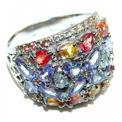 Bouquet of Flowers Authentic Tanzanite Sapphire .925 Sterling Silver handmade Ring s. 8