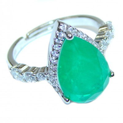 Colombian 12ct Emerald .925 Sterling Silver handcrafted Statement Ring size 7 1/2