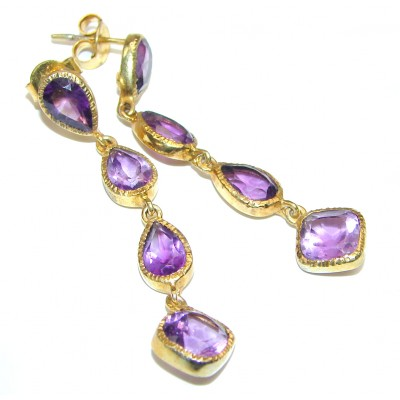 Ornient Beauty Authentic Amethyst 14K Gold over .925 Sterling Silver handcrafted earrings
