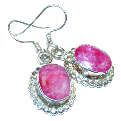 Victorian Style Ruby .925 Sterling Silver handcrafted earrings