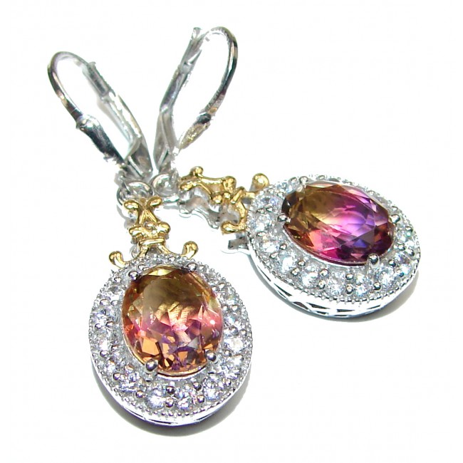 Precious Ametrine .925 Sterling Silver entirely handmade earrings