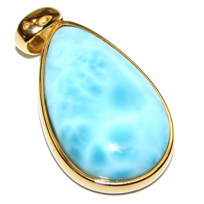 Great quality Larimar from Dominican Republic 18K Gold over .925 Sterling Silver handmade Huge pendant