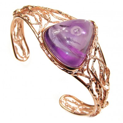 Real Treasure Genuine Amethyst 14K Rose Gold over .925 Sterling Silver handcrafted Bracelet / Cuff