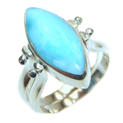 Reversible Larimar - Baltic Amber .925 Sterling Silver handcrafted Ring s. 6