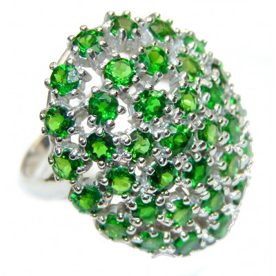 Genuine Chrome Diopside .925 Sterling Silver handcrafted Statement Ring size 8