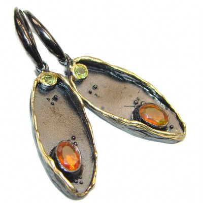 Authentic Mexican Fire Opal .925 Sterling Silver handcrafted LARGE statement earrings