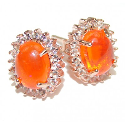 Authentic Mexican Fire Opal .925 Sterling Silver handcrafted earrings
