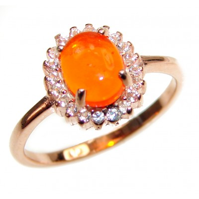 Golden Flames Genuine Mexican Opal .925 Sterling Silver handmade Ring size 7