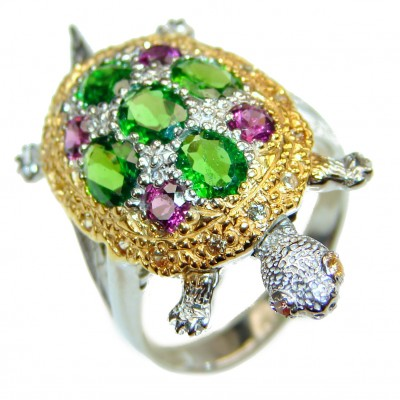 Good health and Long life Turtle 18ctw Genuine Chrome Diopside 24K Gold over .925 Sterling Silver handmade Ring size 7 1/2