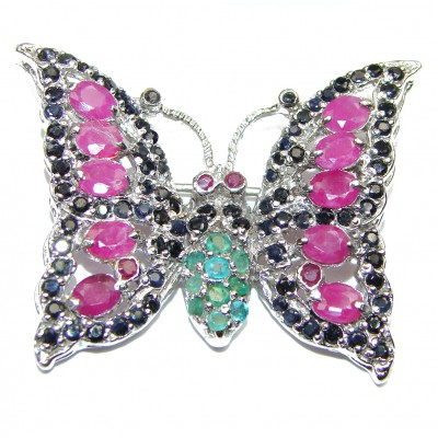 Butterfly authentic Ruby .925 Sterling Silver handmade Brooch