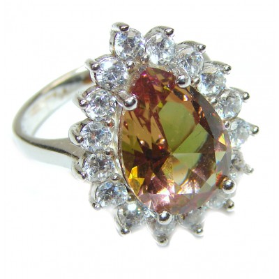 Huge Precious Alexandrite .925 Sterling Silver Ring s. 8