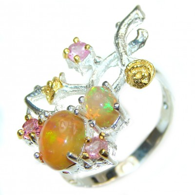 Mexican Opal .925 Sterling Silver handcrafted Ring size 8 3/4