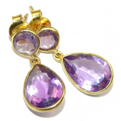 Authentic Amethyst 18K Gold over .925 Sterling Silver handmade earrings