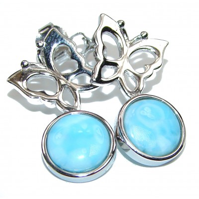 Bohemian Style Blue Larimar .925 Sterling Silver handmade earrings