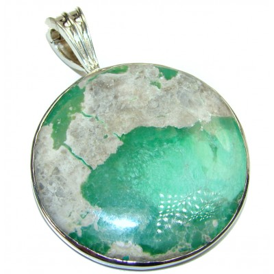 Authentic Variscite .925 Sterling Silver handcrafted HUGE Pendant